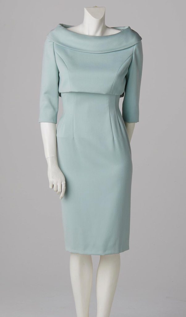 duck egg blue shift dress satin and crop jacket formal wear bespoke couture