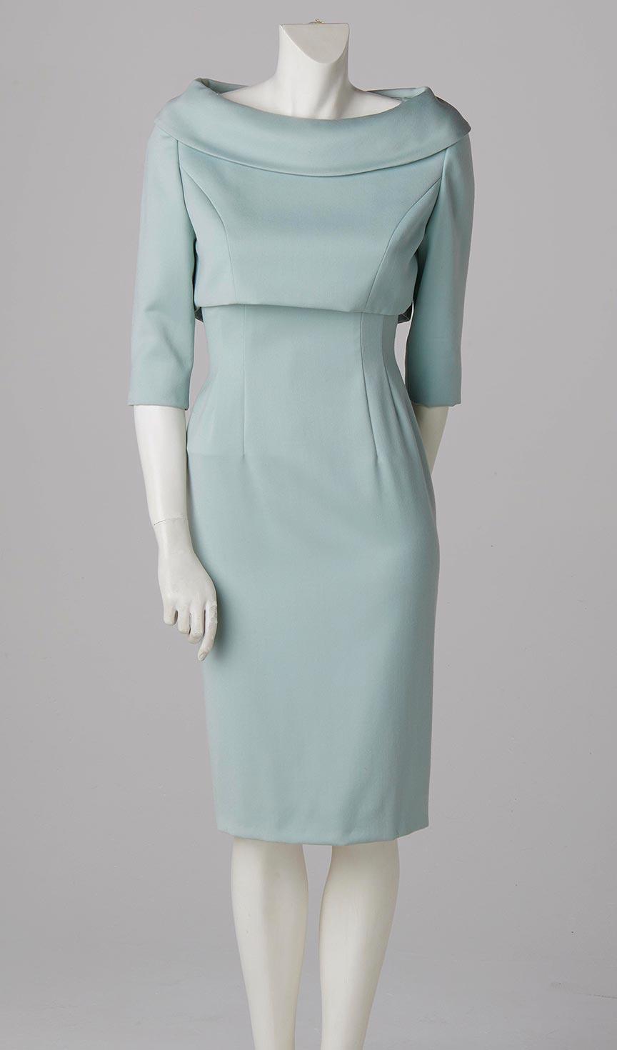 duck egg blue shift dress satin and crop jacket formal wear bespoke couture