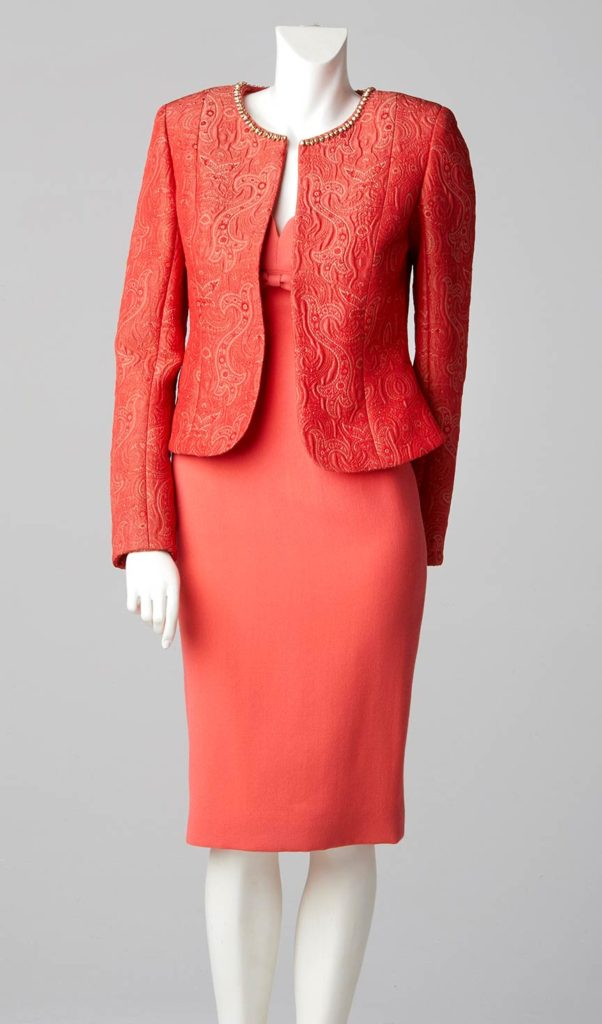 mother of the bride couture london coral coloured shift dress swarovski crystal