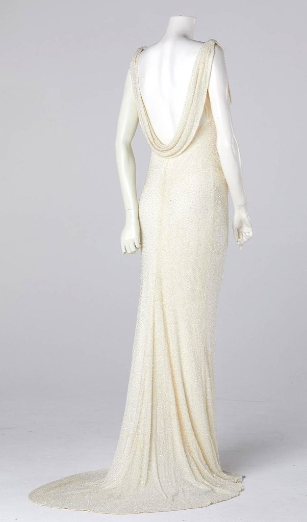 bias cut fishtail wedding silk bespoke couture wedding gown