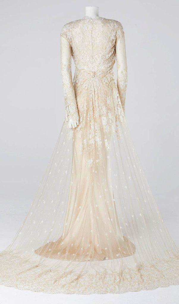 Champagne satin fishtail wedding dress French lace empire line wedding dress