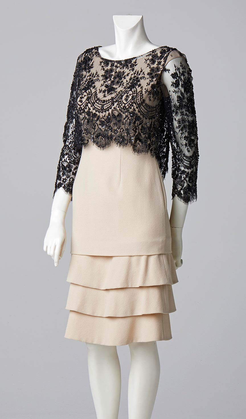 couture allison rodger designer london wool crepe tiered dress