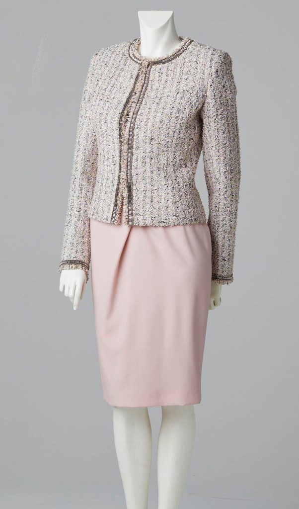 couture designer south west london formal pale pink fitted round neck jacket in french tweed