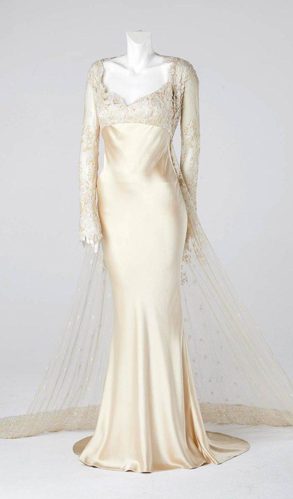 champagne silk satin couture designer wedding fishtail dress south west london