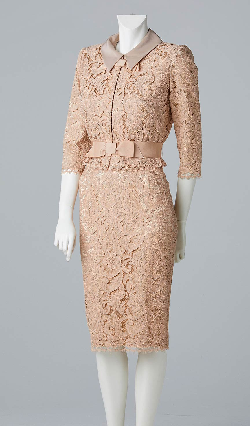 nude light pink lace pencil skirt and lace jacket mother of the bride occasional wear south west london allison rodger