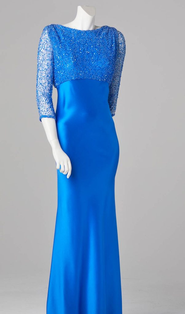 electric blue evening dress beaded lace couture design london