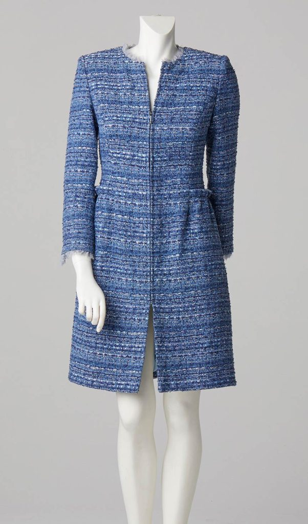 Formal wear designer london fitted round neck coat in blue french tweed