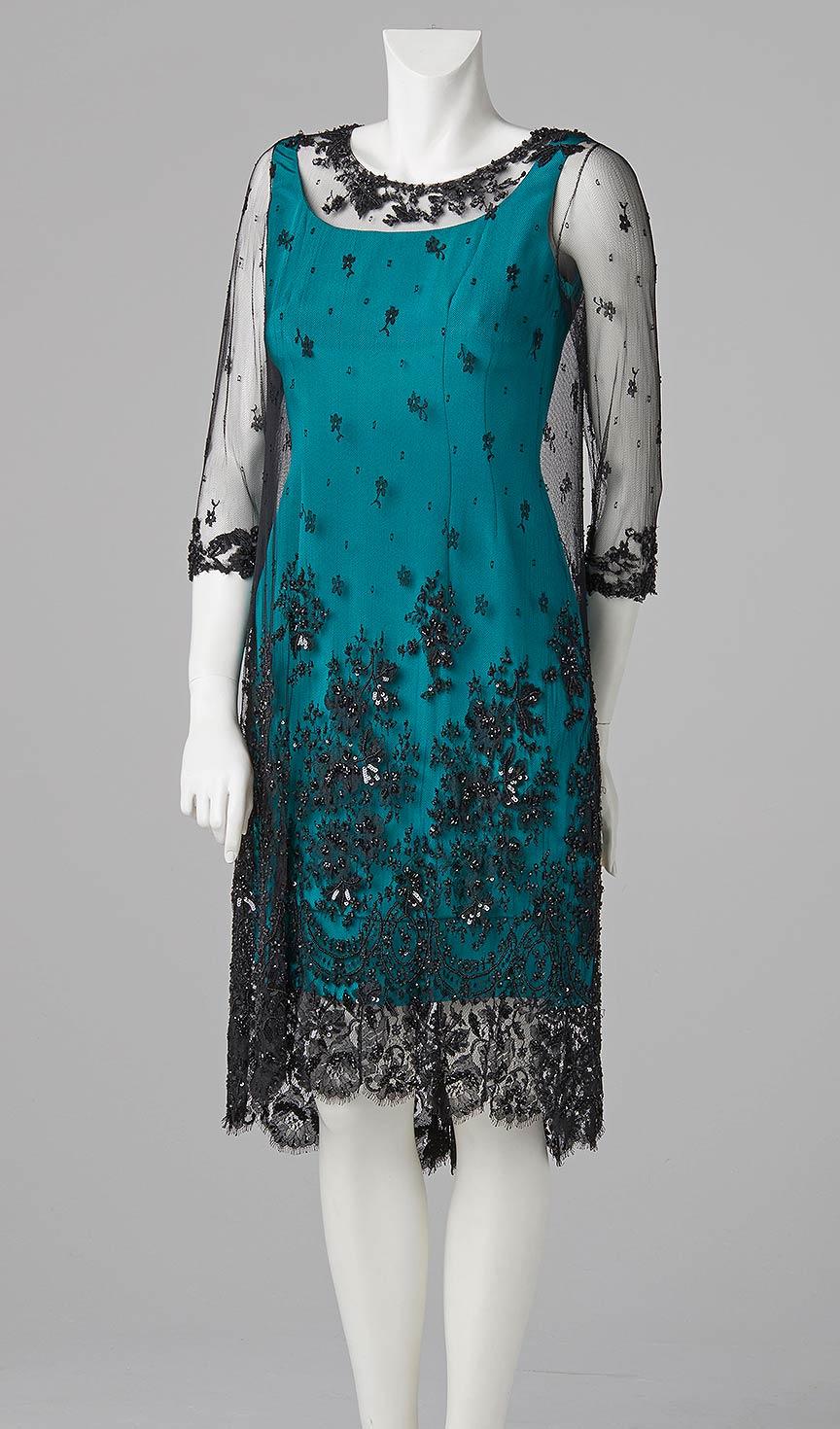 french beaded shift dress blue designer couture evening wear dress london