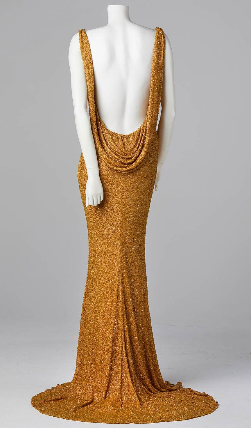 gold beaded silk evening dress awards dress couture bespoke designer allison rodger
