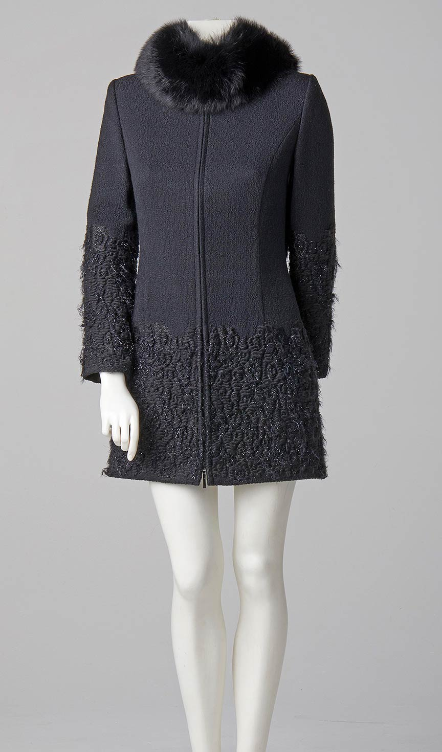 made to measure couture coat black french tweed with detachable fox fur collar couture design london