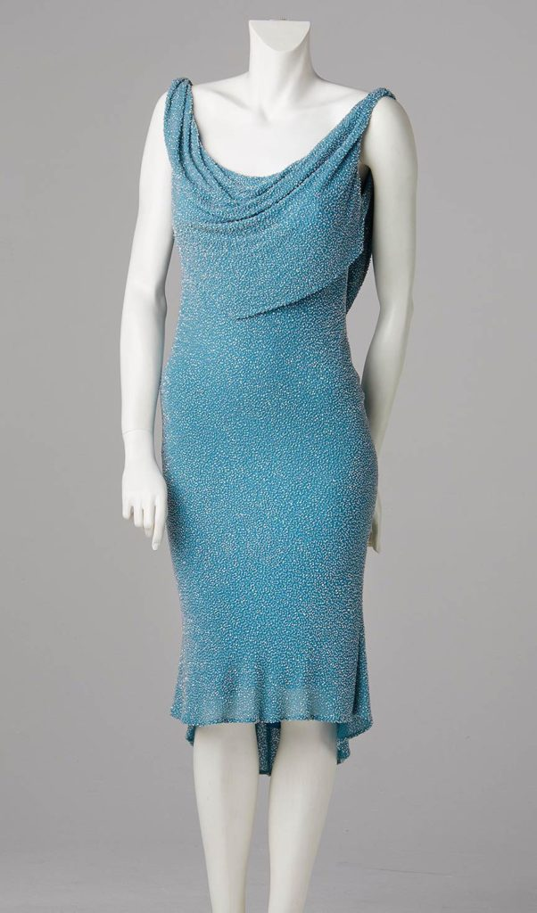Aquamarine vermicelli beaded silk bespoke couture evening dress evening wear south london allison rodger
