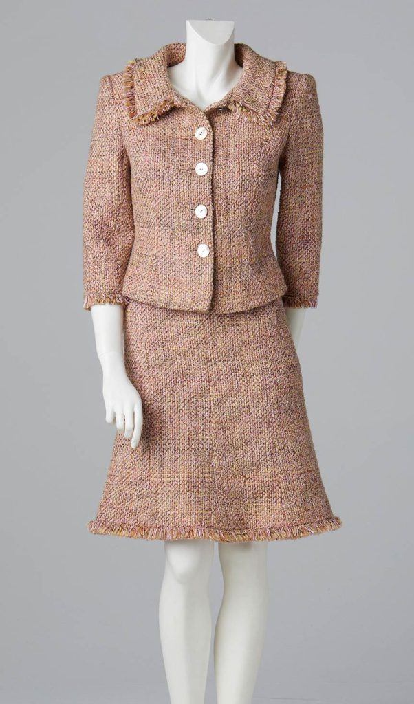 pink linton tweed fitted jacket and skirt couture designer south west london.