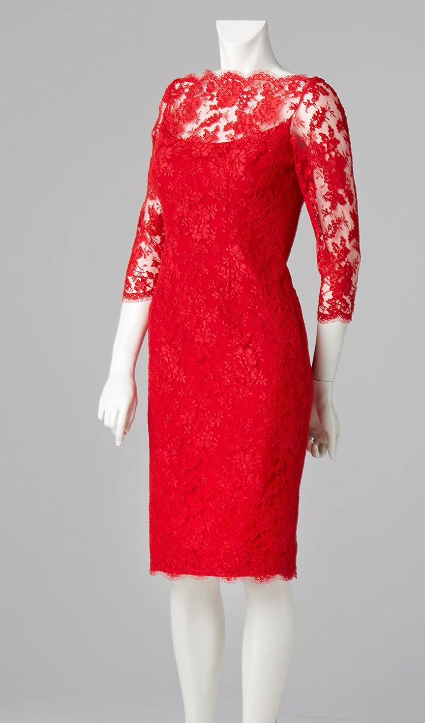 red french lace shift dress couture designer allison rodger london