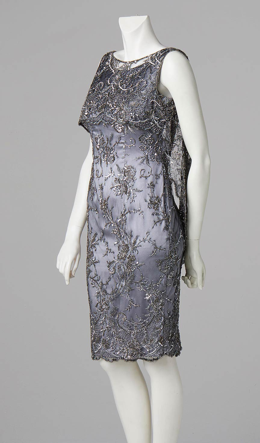 silver french lace beaded shift dress couture designer south london
