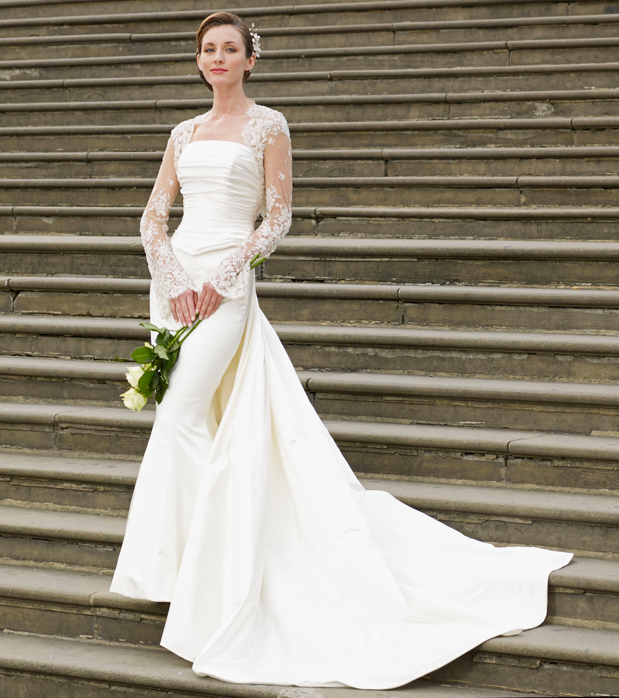 Allison Rodger Ivory Duchesse Satin Wedding Dress