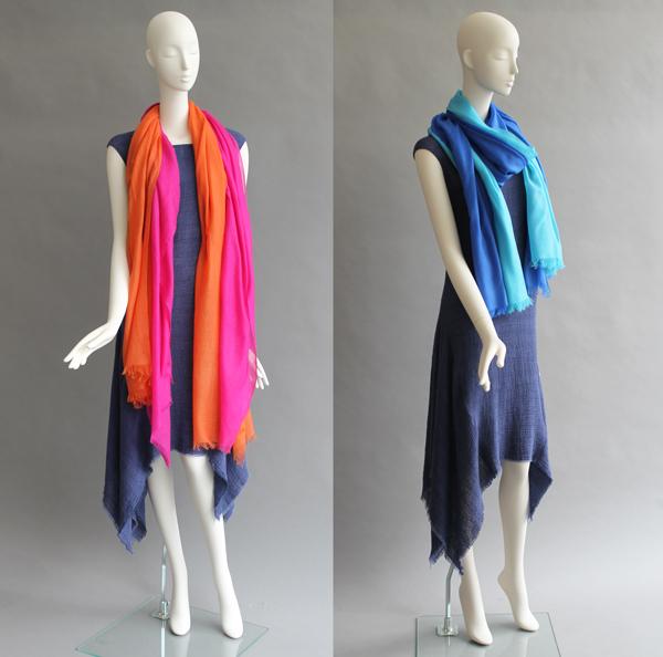 Cashmere Scarves Turq & Royal and Orange & Fuschia
