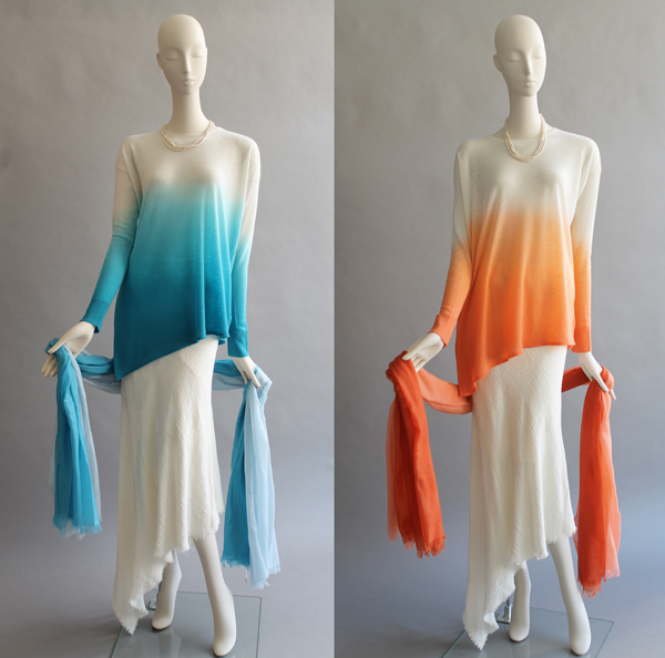 Tri Colour LS Pull Turquoise and Melon £103 Cashmere Scarves £145