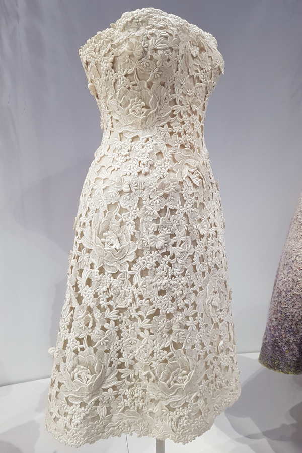 Dior - Beautiful guipur dress by Yves St Laurent. NOTE - no seams...... all hand appliquéd.