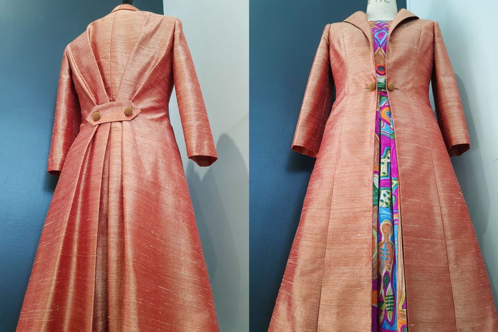 Allison Rodger Multi Coloured Silk Dress and Copper Coat