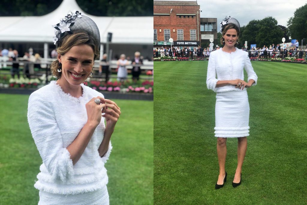 Allison Rodger Summer French White Tweeds - Francesca Cumani at Newmarket Races.